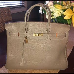 Handbags - HERMÈS Etoupe Togo Leather Birkin